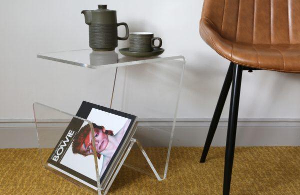 acrylic side table with magazine rack