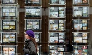 An estate agent window display