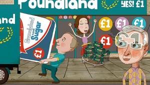 Cartoon of Poundland shop