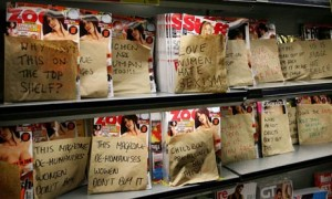 Lads magazines covered by paper bags