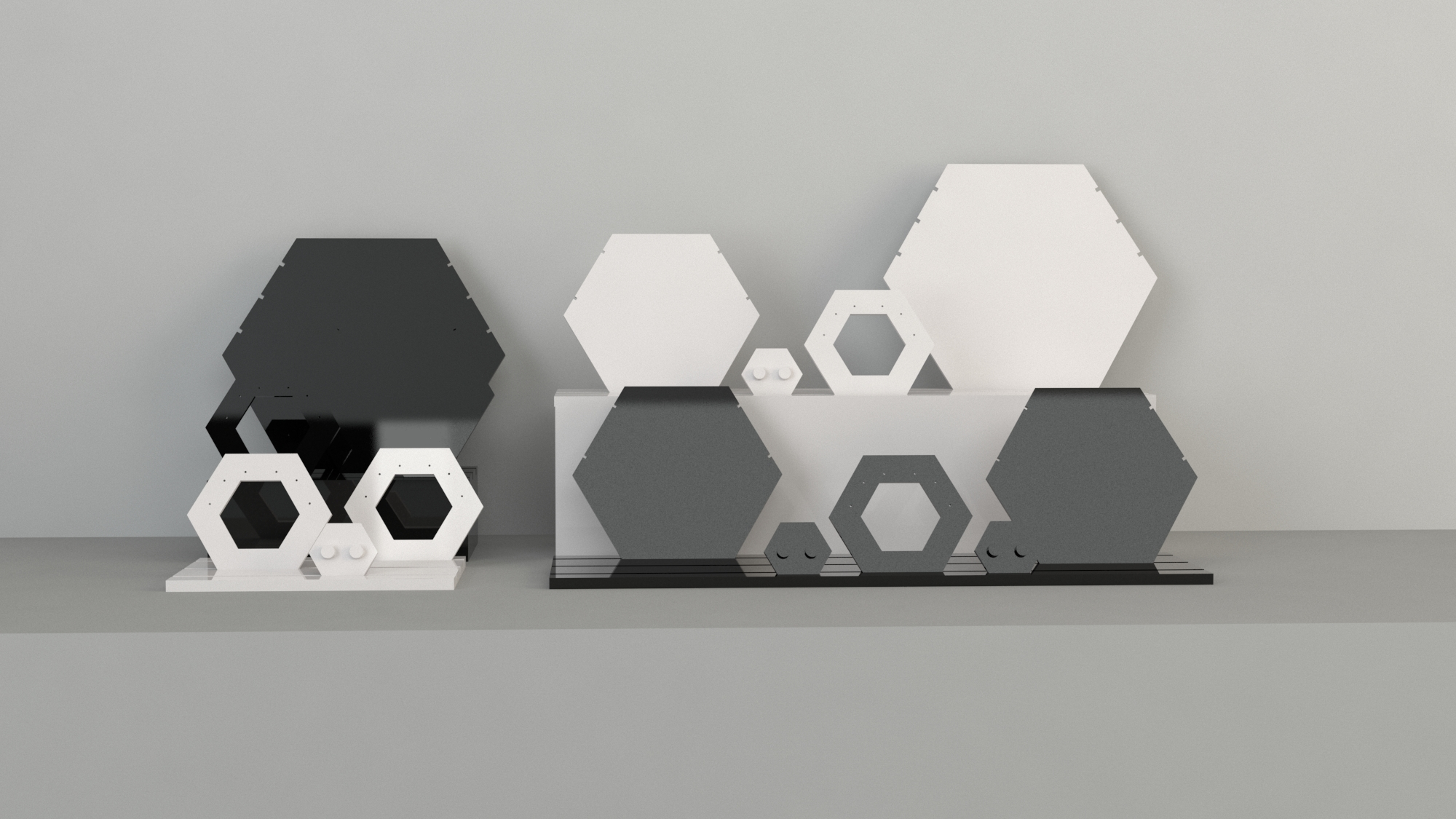 An image of Large Hexagon Necklace Display – White