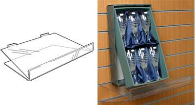 An image of Angled Slatwall Shelf with 50mm Ticket Facility: 400mm (W) x 200mm (D)